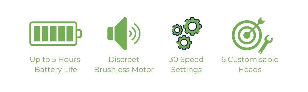 5 hours battery life, discreet brushless motor, 30 speed settings, 6 customisable heads
