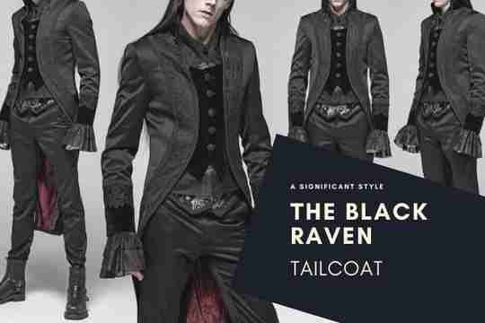 The Black Raven Tailcoat showcased on a gothic model, available at Gallery Serpentine