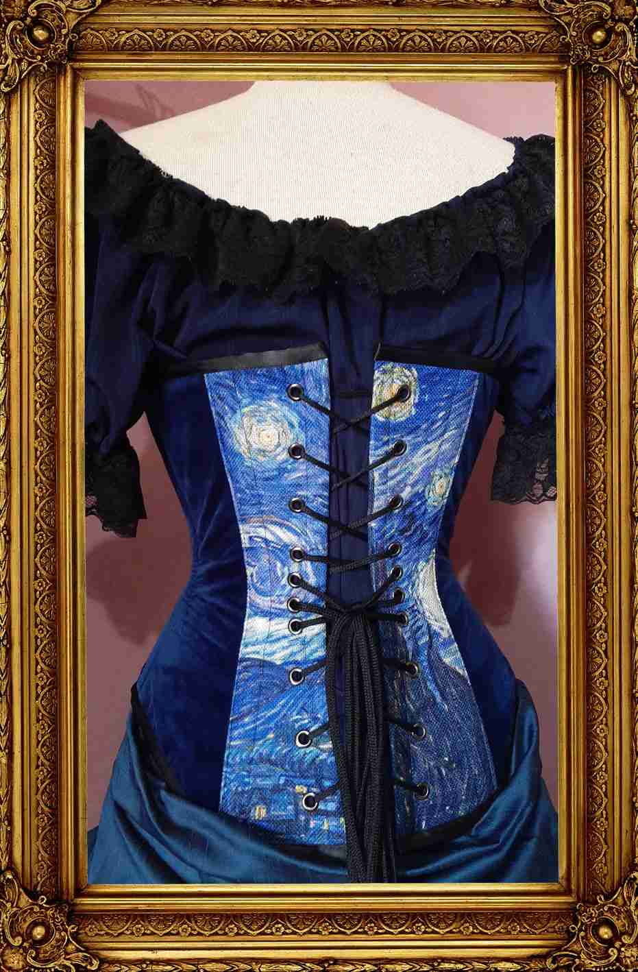 back view of the new van gogh Starry Night print corset showing back corset lacing and dark blue velvet side panels on a mannequin