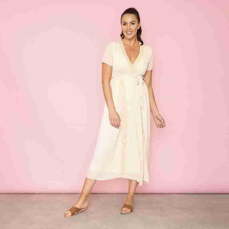 Lara Lace Trim Maxi Dress (Oat)