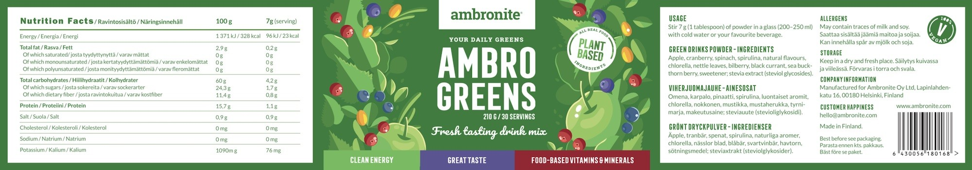 Ambro Green Nutrition Label