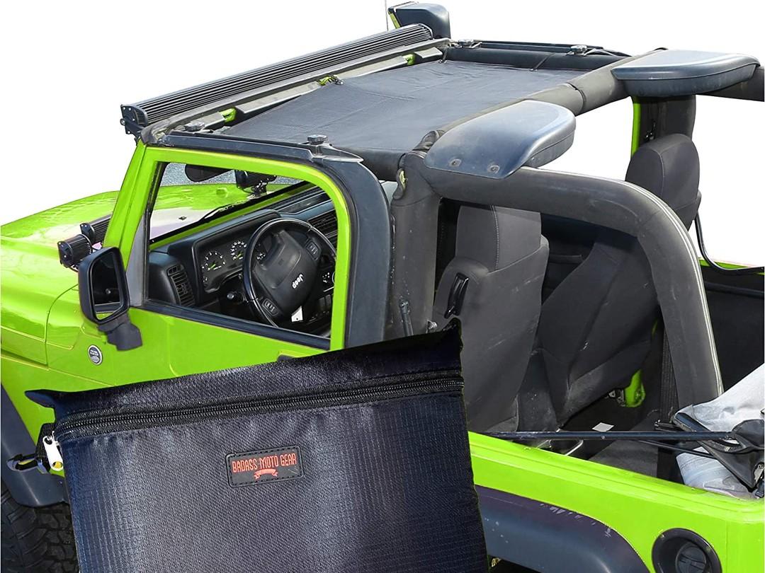 Badass Moto Jeep Wrangler TJ Front Mesh Sun Shade Top Cover