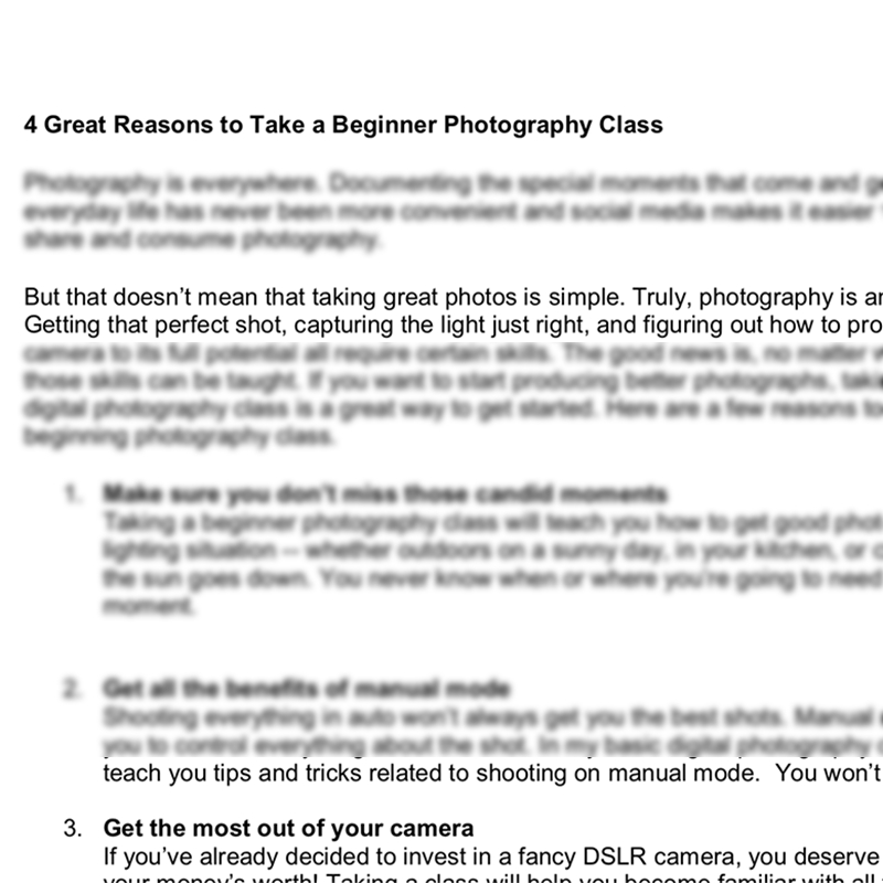 pre-written blog posts for teaching photography classes