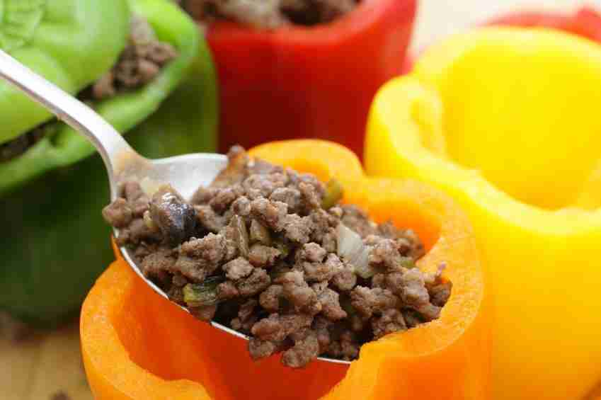 Colorful bell peppers with meat
