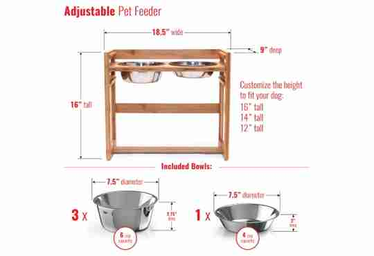 adjustable elevated pet feeder