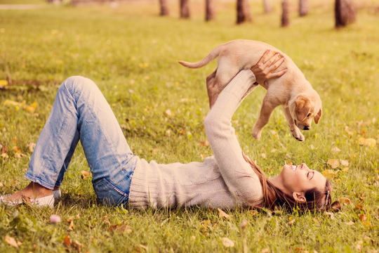 DOG OWNER HOLDING GOLDEN RETRIEVER PUPPY