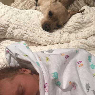 Baby Gemini with Dog Felipe Nap Time