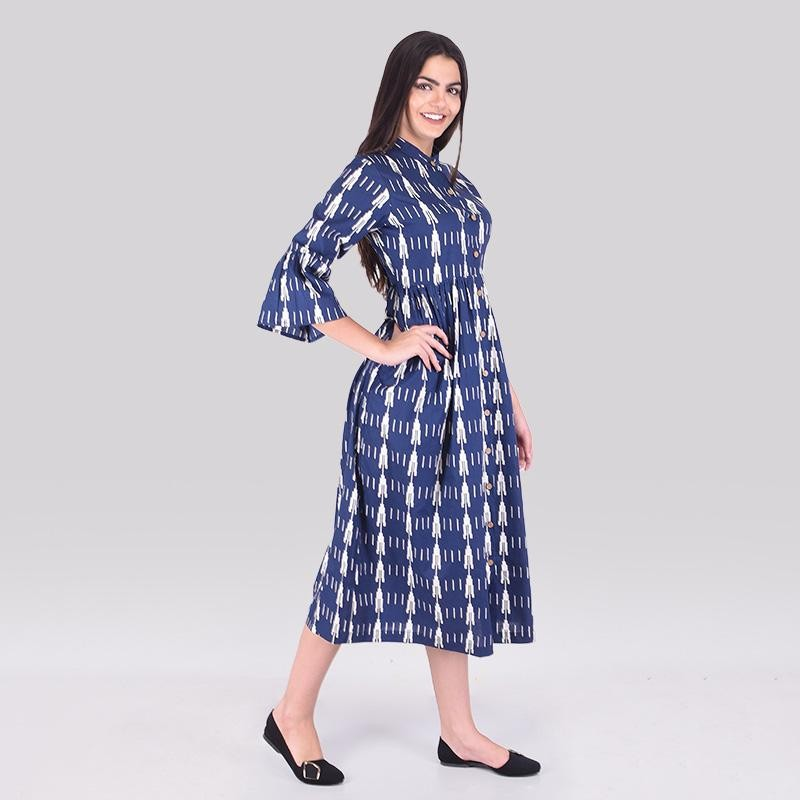 Flute Sleeve Midi Dress Navy