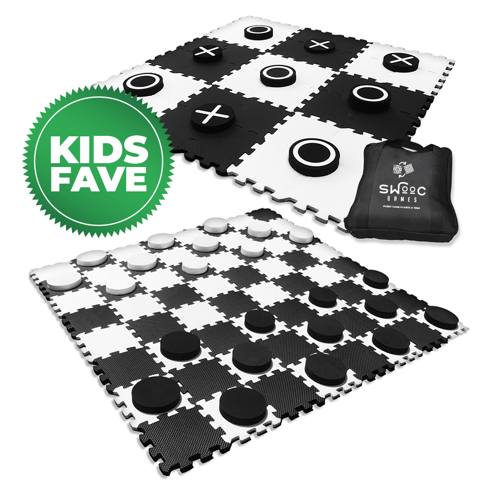 2-in-1 Giant Checkers & Tic Tac Toe Game