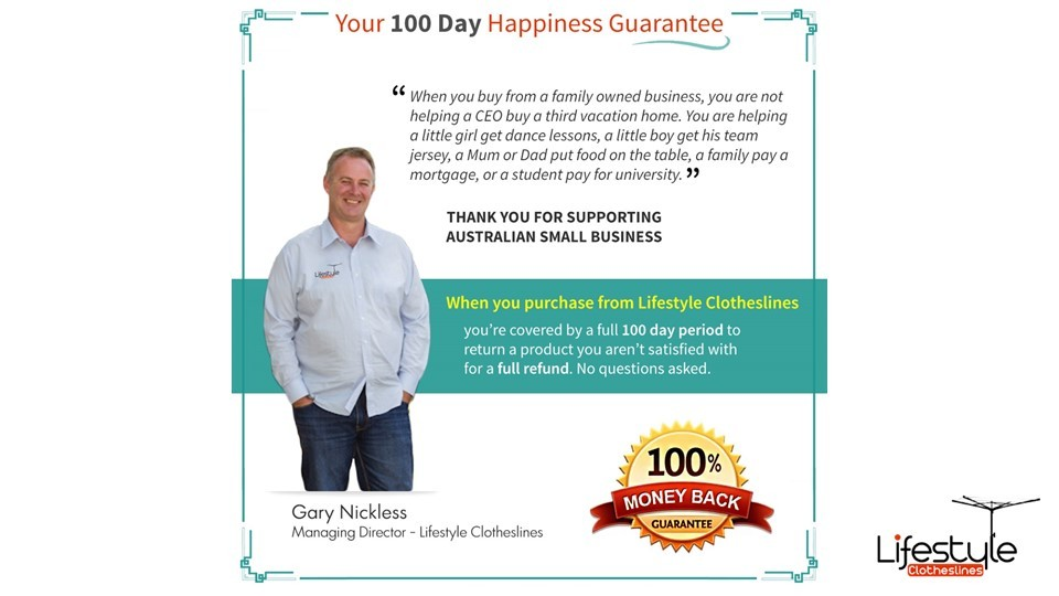2.5m clothesline purchase 100 day happiness guarantee