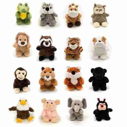 Beanpal owl, lion, ladybug, monkey, elephant, alligator, horse, raccoon, panther, beaver, husky, tiger, fox, pig, bulldog and eagle