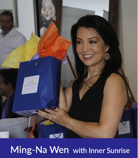 Actress MING-NA WEN, with INNER SUNRISE Celebrity Gift Bag