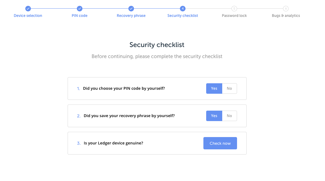 the Ledger Manager security checklist