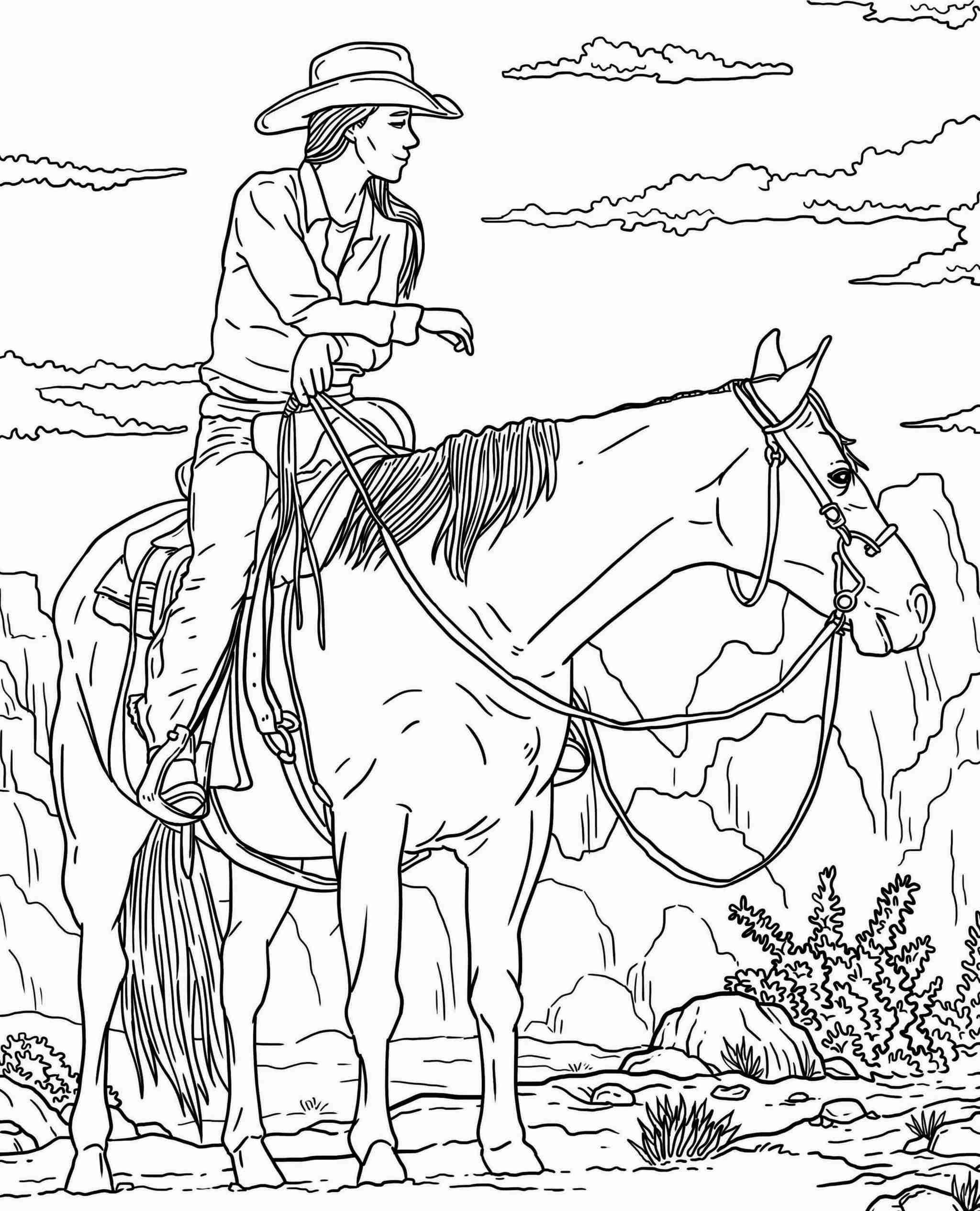 ColorIt Free Coloring Page Freebie Friday Blissful Scenes II Giddy Up 2021-02-26
