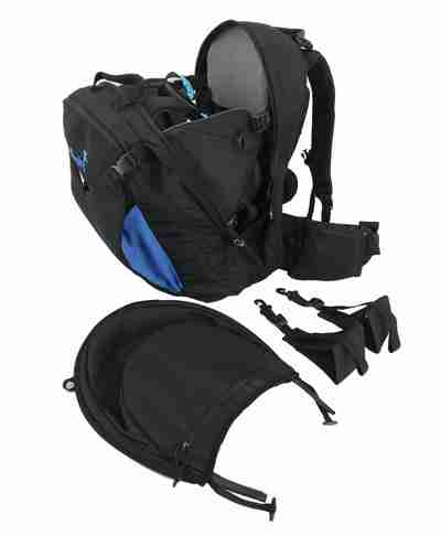 adventure baby carrier with stirrups and hood
