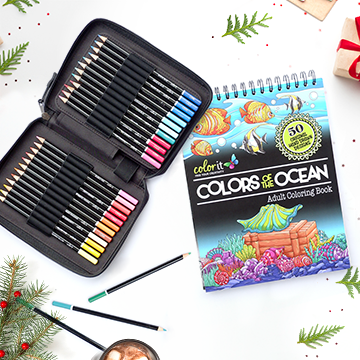 48 Colored Pencil Set + Colors of the Ocean Coloring Book