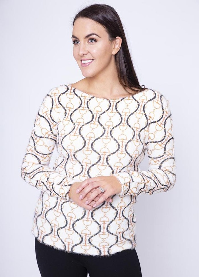 Chain Print Jumper in White