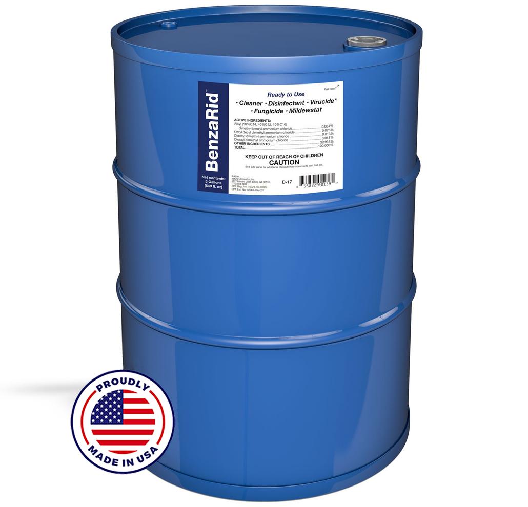 BenzaRid Hospital Grade Cleaner - Disinfectant, Virucide, Fungicide - 55 Gallon Drum