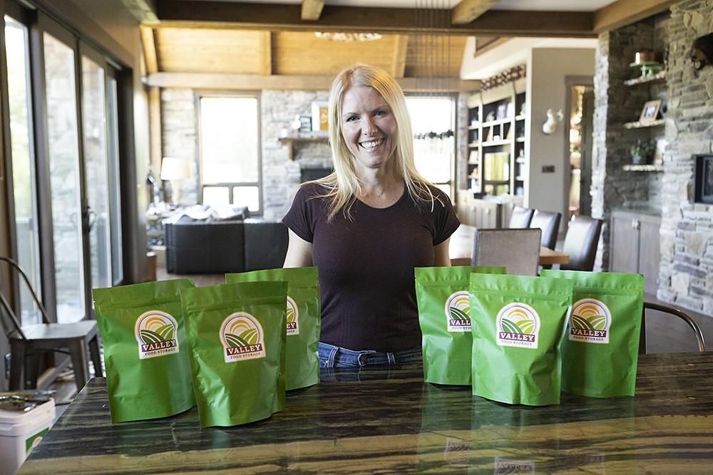 Woman with Valley Food Storage Emergency Food Bags