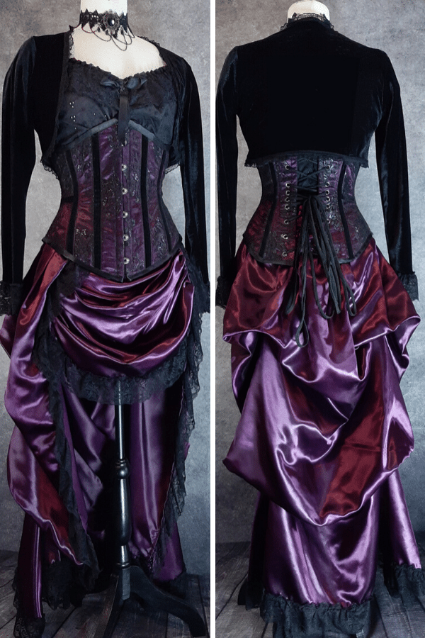 matching bustle skirt for Corset of the Week feature in amethyst satin, victorian styled, high low style