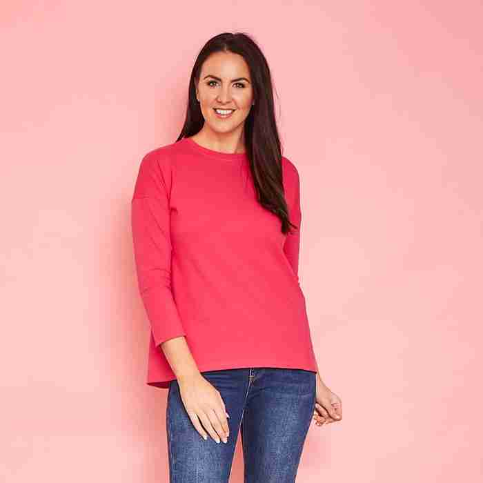 Riley Crew Neck Top(Fuschia Pink)