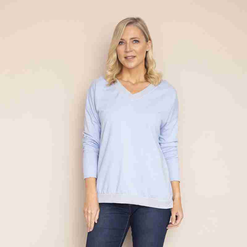Sophie V Neck Top(Sky Blue)