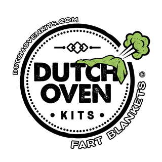 picture of dutch oven kits logo. circle with dutch oven kits in the center. green blanket with a fart cloud.