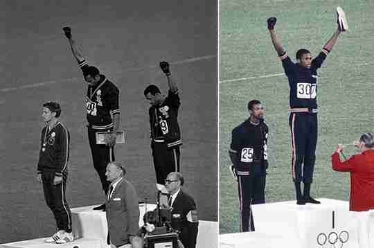 Tommie Smith and John Carlos Raised Fists 1968 Olympics
