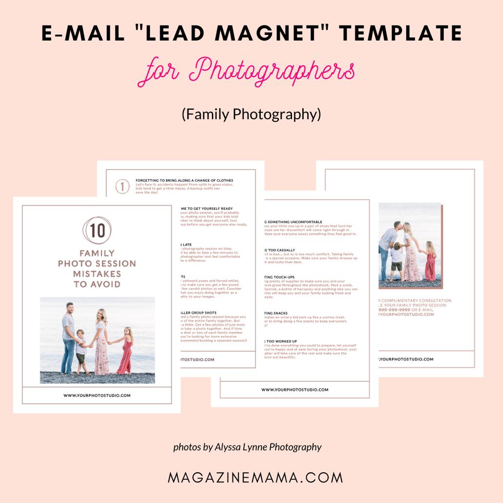 photographer lead magnet template kit