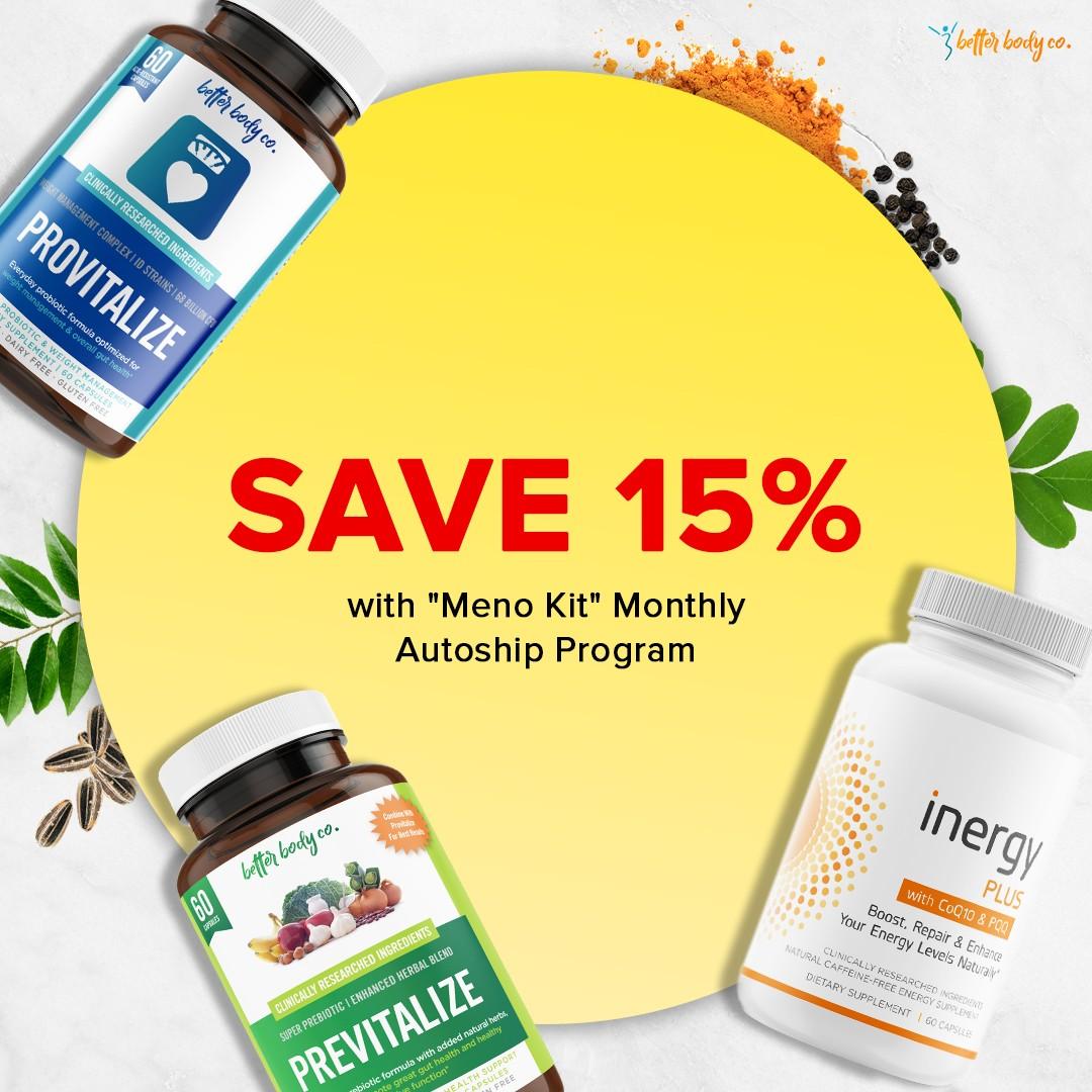 Save 15% on meno kit with our autoship program