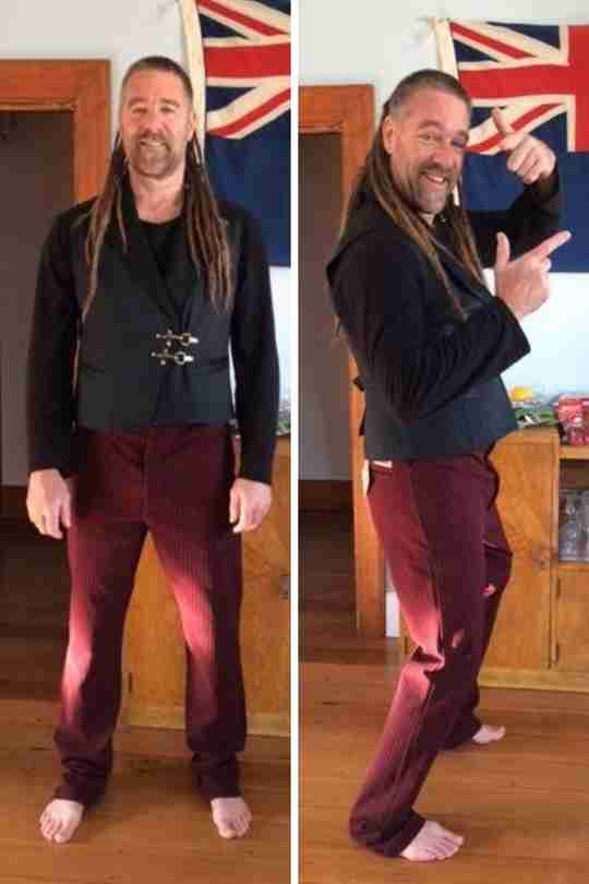 Sean Julian, Waimate, NZ trying on his Lock & Load vest & Dark Red Original Outlaw trousers for the first time