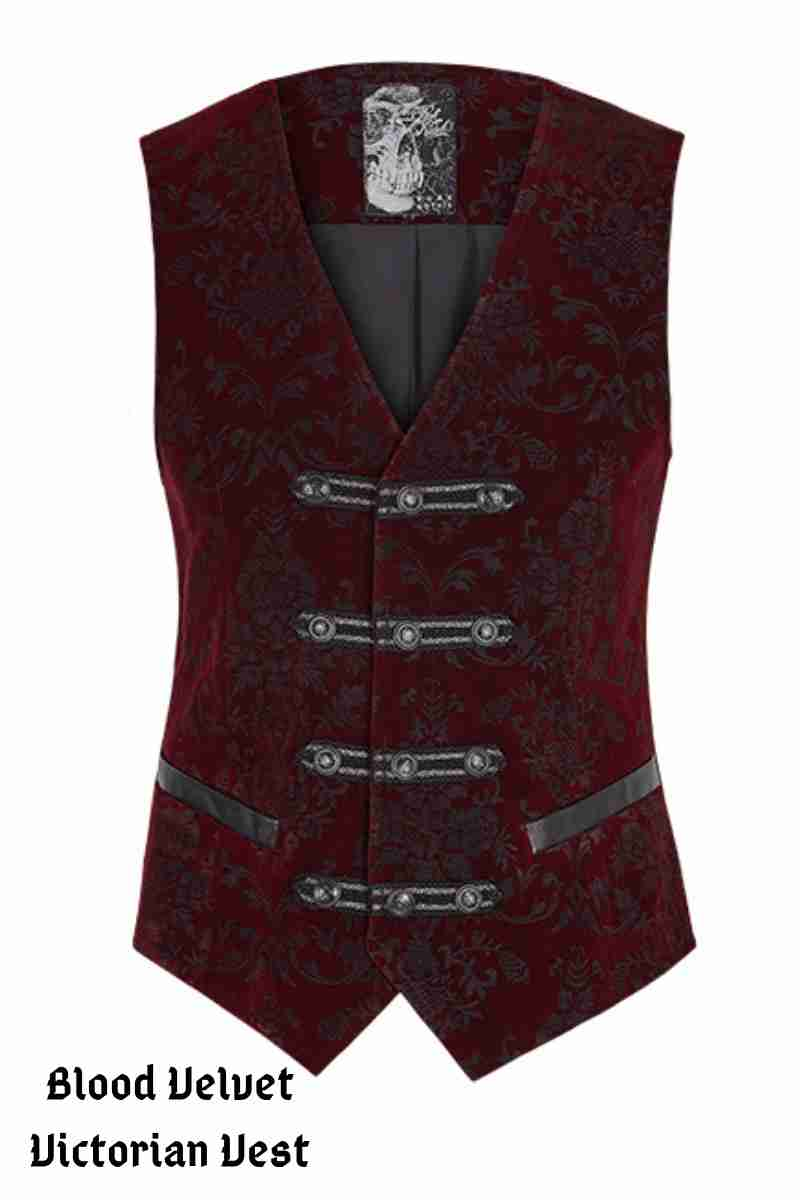 Blood Velvet Victorian vest made from a blood red embossed velvet with 4 leather look straps at the front