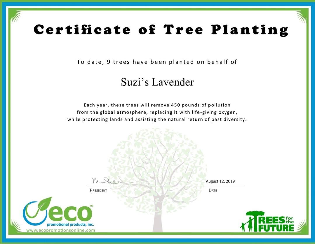 ECO Tree Planting Certificate - Suzi's Lavender
