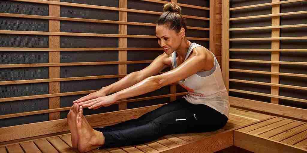 infrared sauna woman stretching