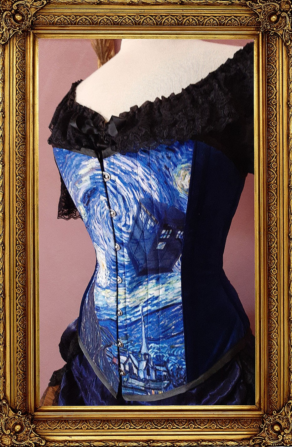 new Starry Night Police Box over bust tight lacing steel boned corset for Whovian fandom from Gallery Serpentine