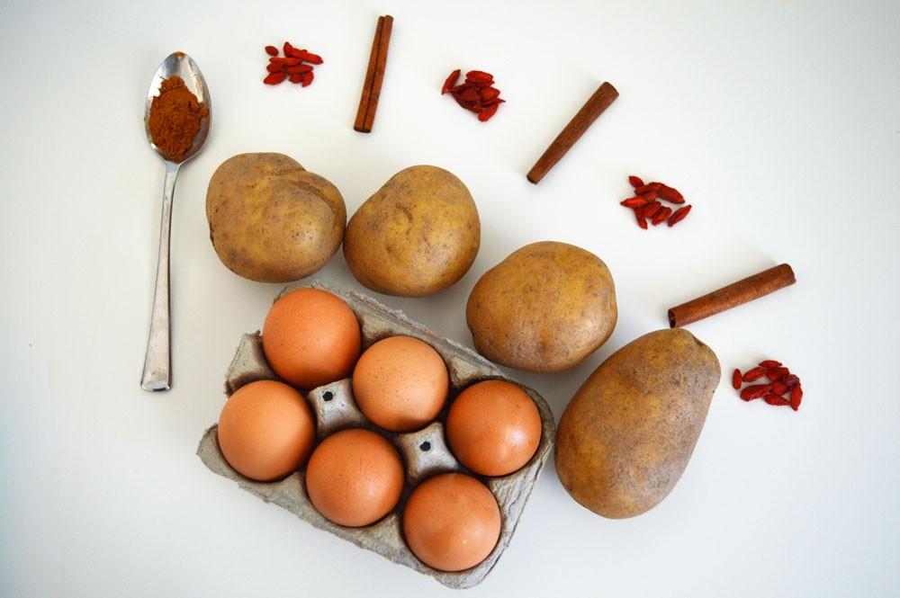 cinnamon. eggs, potatoes