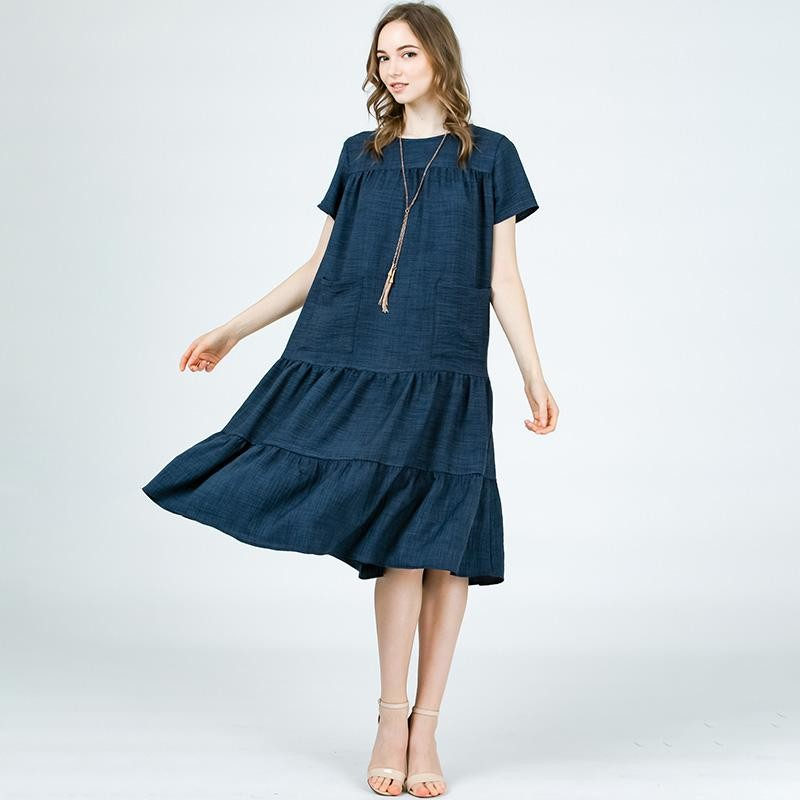 Tina Tiered Midi Dress Navy