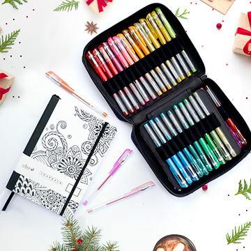 Tangle Doodles Journal + 48 Glitter Gel Pen Set