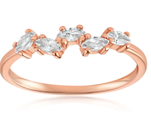 A rose gold vermeil ring with five cubic zirconia gems