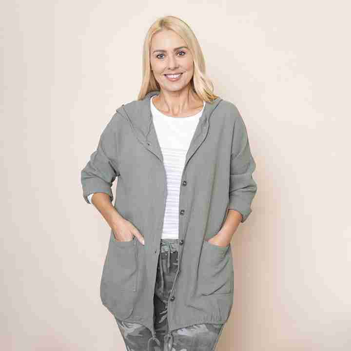 Crinkle Cotton Hoody Jacket(Khaki)