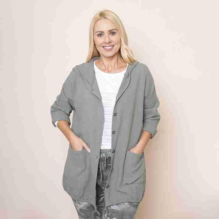 Crinkle Cotton Hoody Jacket(Khaki)