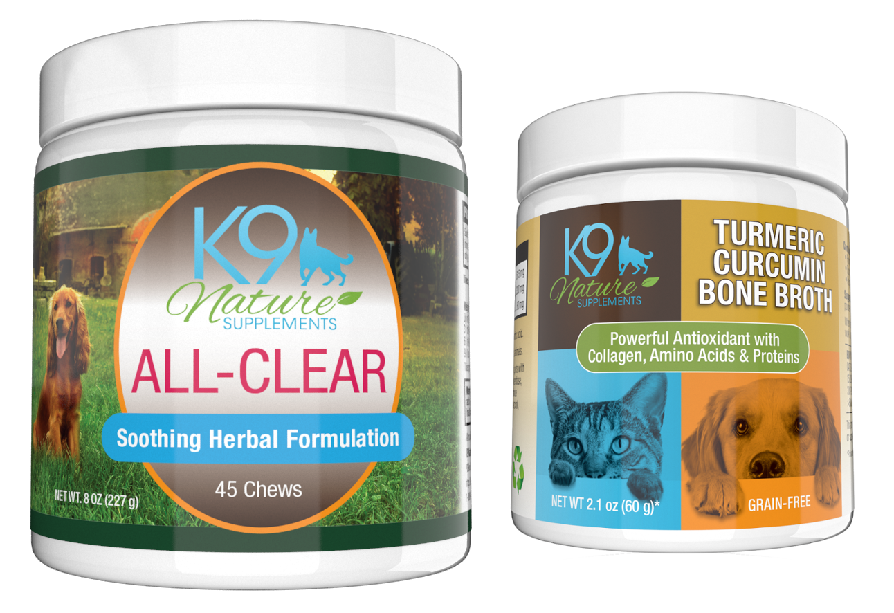 All-Clear allergy treats for dogs and turmeric curcumin bone broth