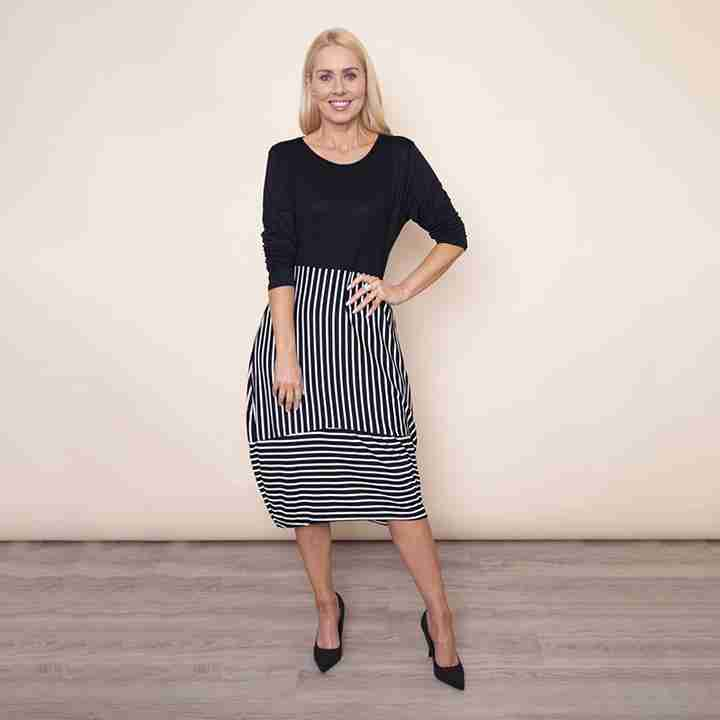 Long Sleeve Stripe Dress in Black