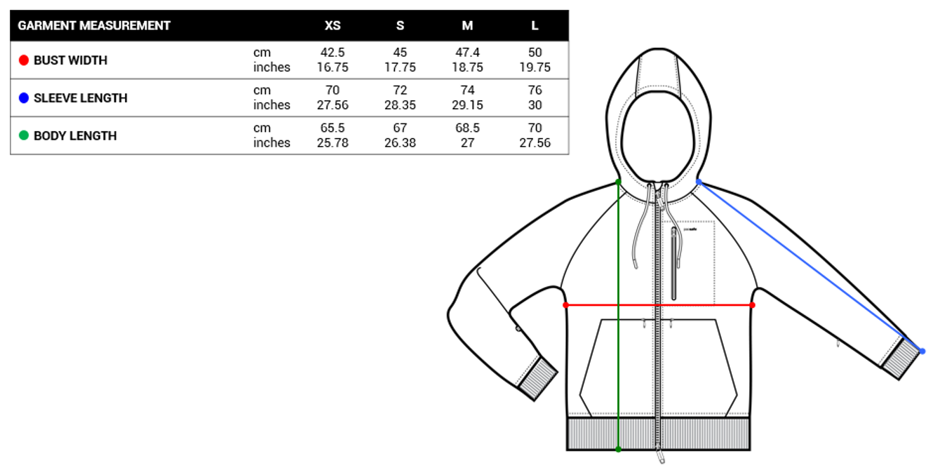 Pacsafe Womens Hoodies Size Chart