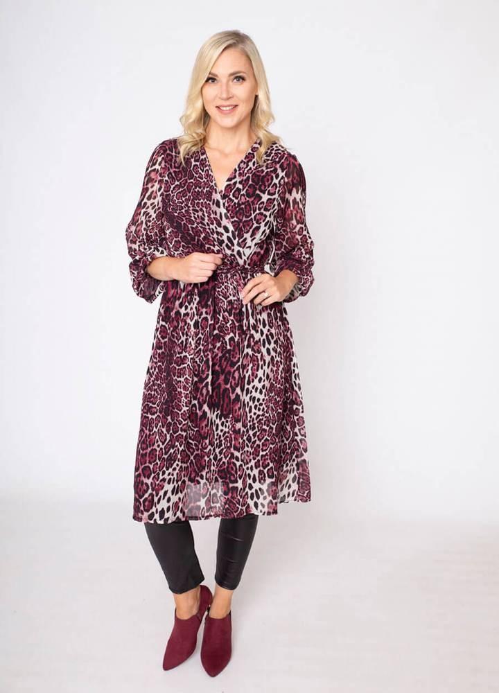 Wrap Midi Leopard Print Dress