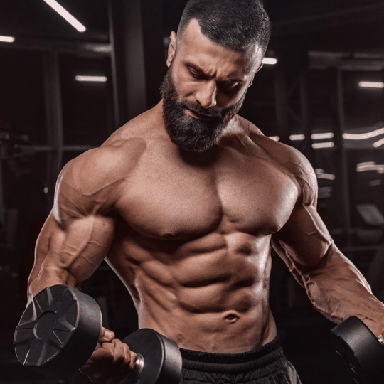 bodybuilder lifting weights and builds muscle with testofierce testo booster