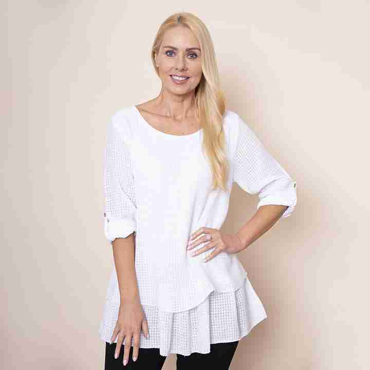 Trelis Frill Layered Top(White)