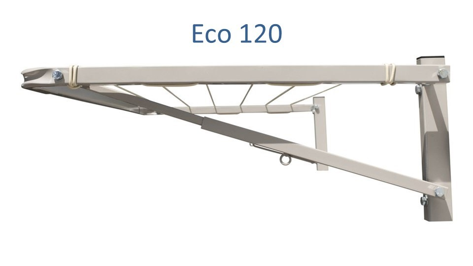 eco 120 clothesline at 1.1m wide showing side view of steel construction