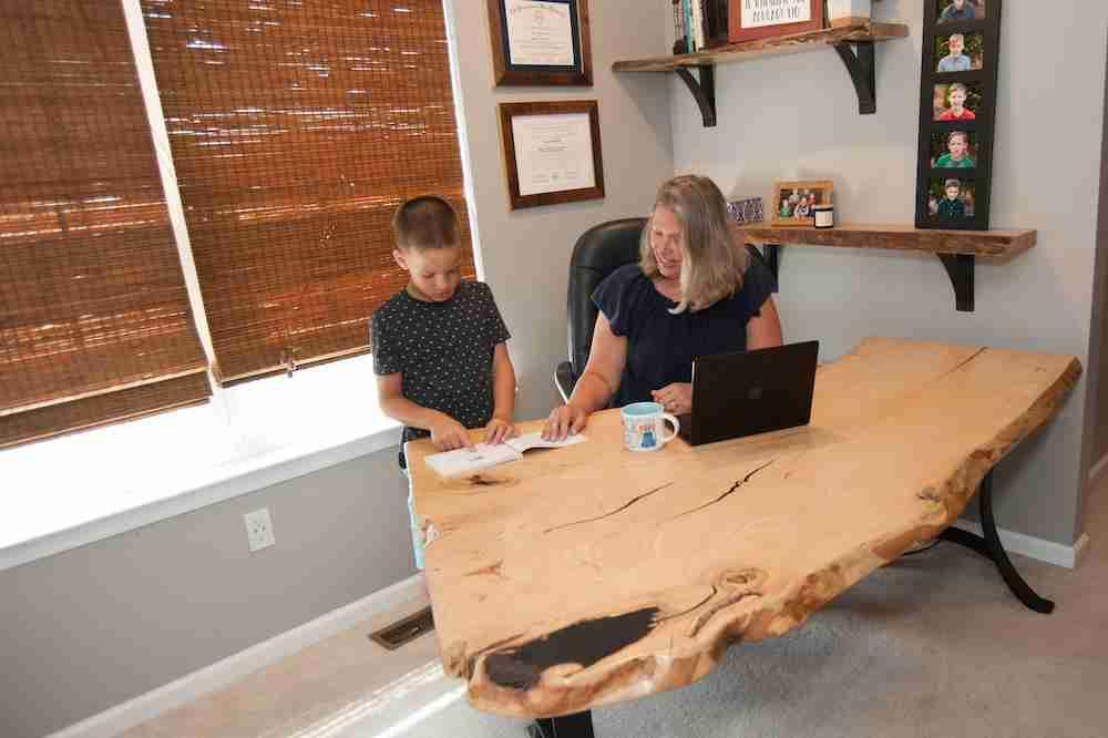 Helping Kids Do Homework at Live Edge Desk