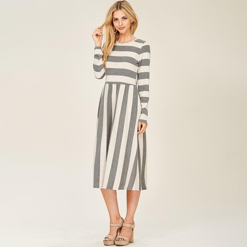 Sadie Stripe Midi Dress Grey